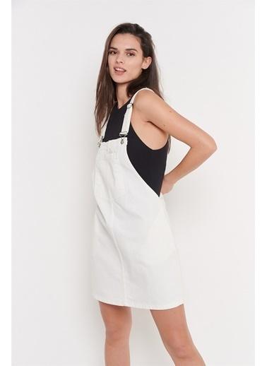 Levure Önü Cepli Pamuk Salopet Elbise Beyaz